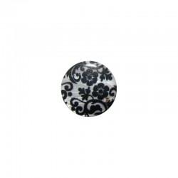 Shell cabochon 16mm printed flowers black + white x6pcs