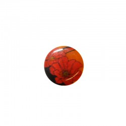 Shell cabochon 16mm printed red flowers x6pcs°